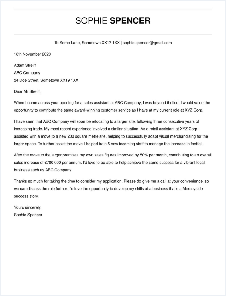 Traditional cover letter template