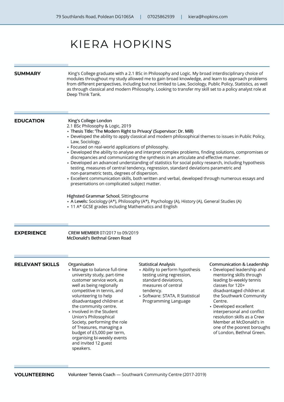 Graduate CV example