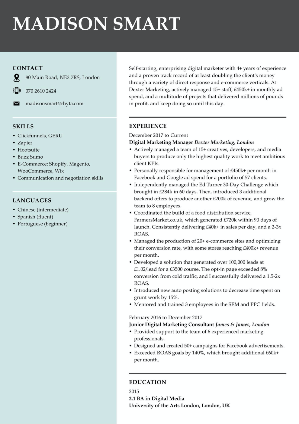 Marketing CV example
