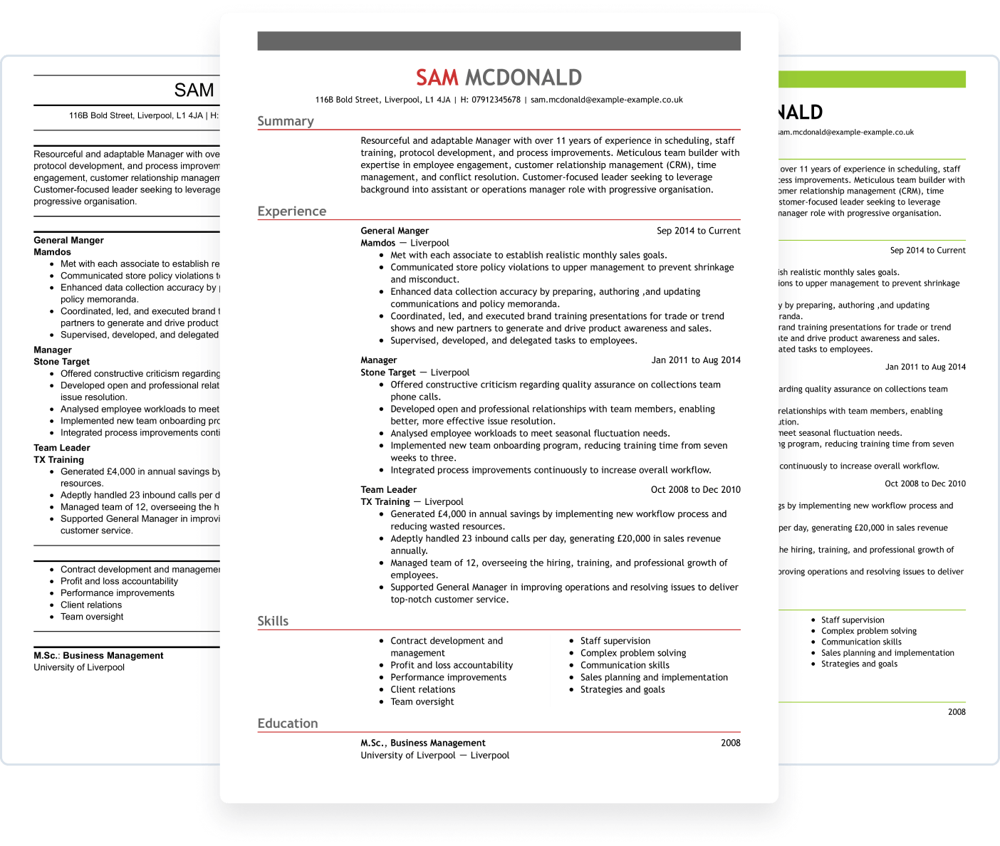 CV template from LiveCareer UK builder