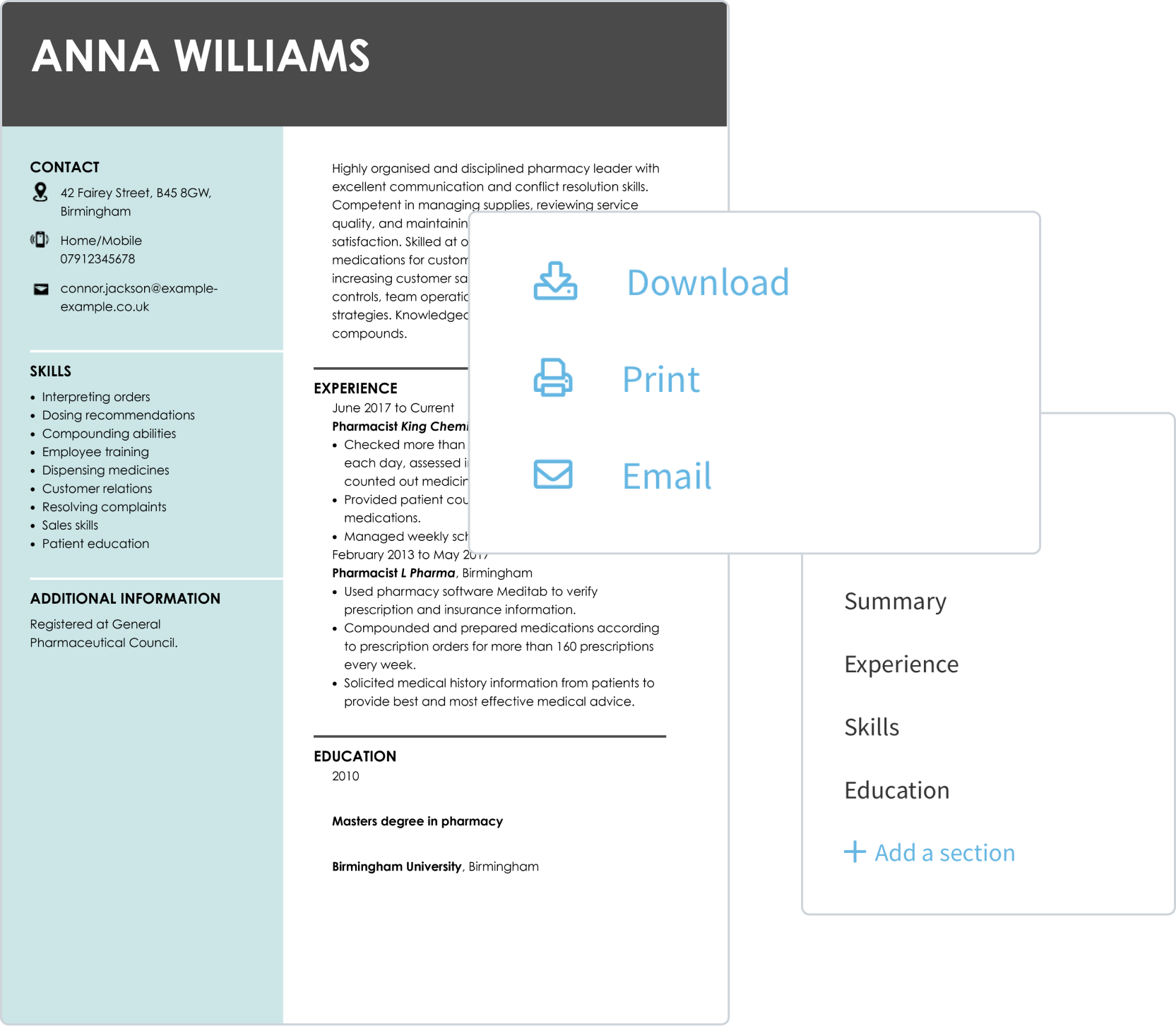 Build a CV online and download it as a PDF or DOC