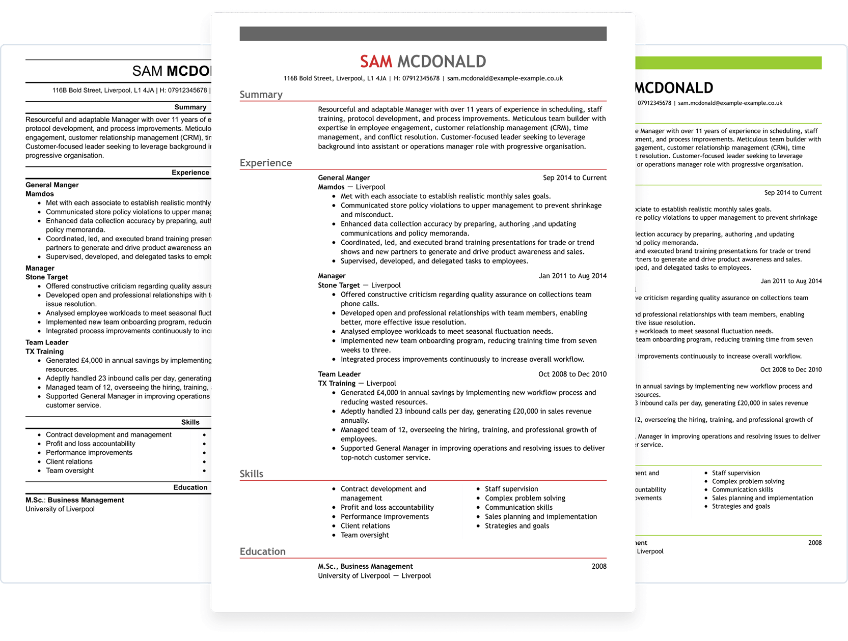 Choose from various CV templates
