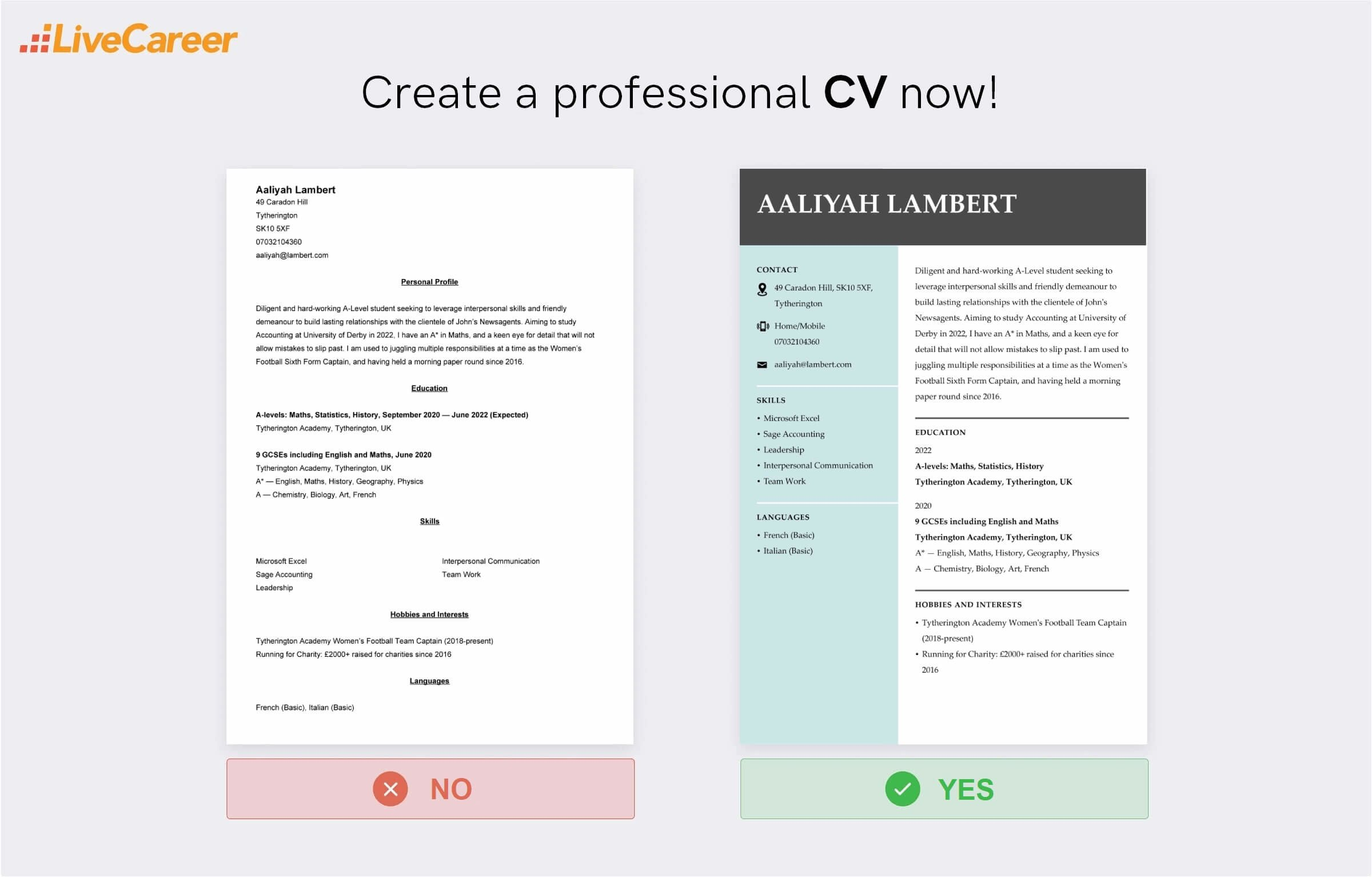CV for a 16-year-old