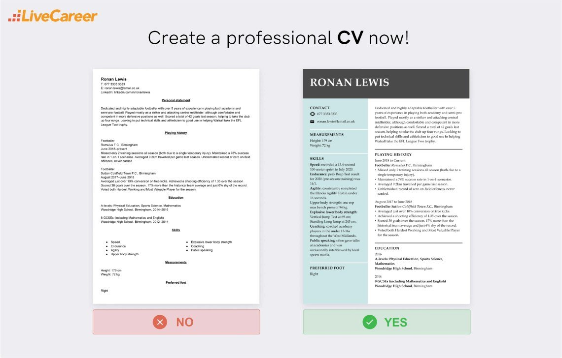 Football CV Template and How to Write (With Examples)
