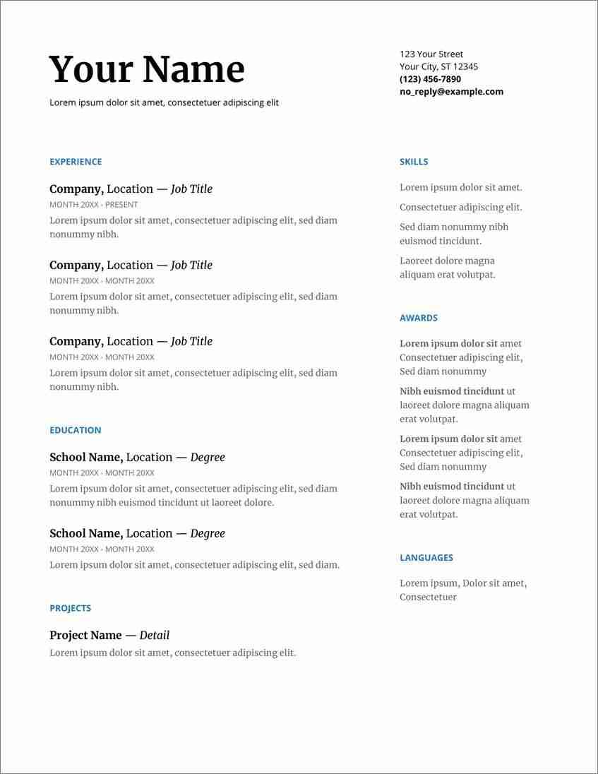 free cv templates