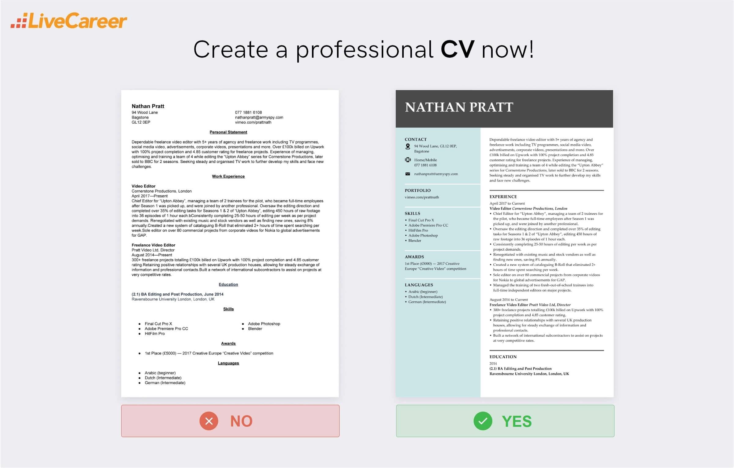 video editor CV